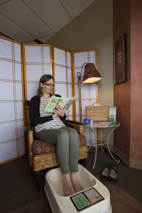 picture of woman using footbath